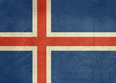 sovereign: Grunge sovereign state flag of country of Iceland in official colors. Stock Photo