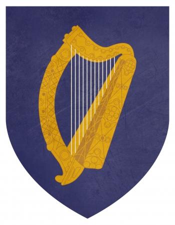 eire: Grunge Ireland coat of arms, seal or national emblem, isolated on white background.
