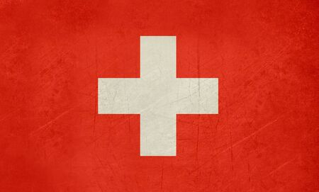 sovereign: Grunge sovereign state flag of country of Switzerland in official colors. f Stock Photo