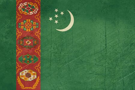 turkmenistan: Grunge Sovereign state flag of country of Turkmenistan in official colors.