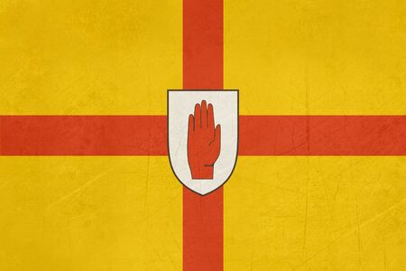 ulster: Grunge official flag of Ulster with red hand, Northern Ireland. Stock Photo