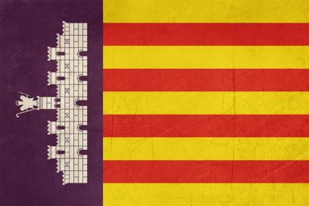 majorca: Grunge illustration of Majorca islands flag of Balearic Islands, Spain, isolated on white background. Stock Photo
