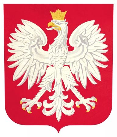 the royal county: Grunge Poland coat of arms illustration, isolated on white background. Stock Photo
