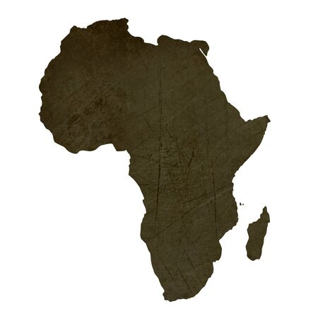Dark silhouetted and textured map of African continent isolated on white background. Stock Photo - 17079431