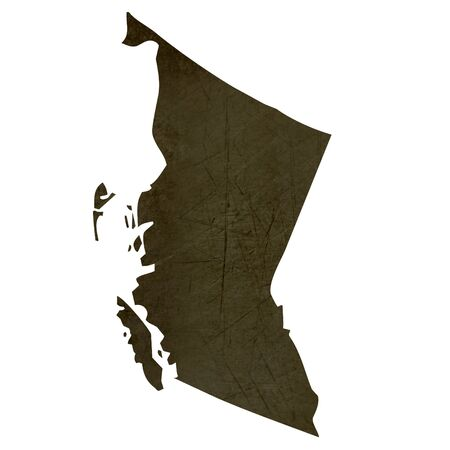 Dark silhouetted and textured map of British Columbia province of Canada isolated on white background. photo