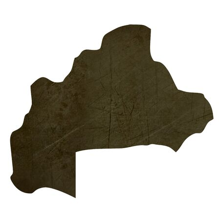 Dark silhouetted and textured map of Burkina isolated on white background. Stock Photo - 17079501