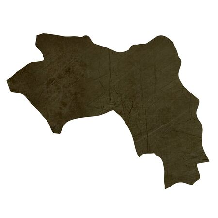 Dark silhouetted and textured map of Guinea isolated on white background. Stock Photo - 17079481