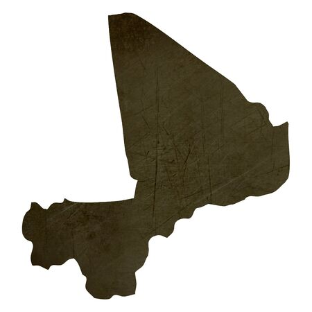 mali: Dark silhouetted and textured map of Mali isolated on white background. Stock Photo