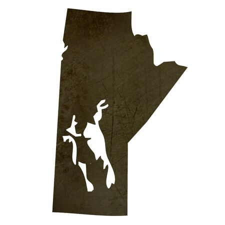 manitoba: Dark silhouetted and textured map of Manitoba province of Canada isolated on white background.