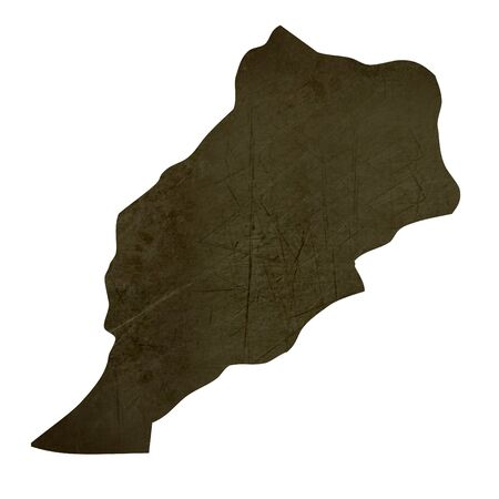 Dark silhouetted and textured map of Morocco isolated on white background. Stock Photo - 17079478