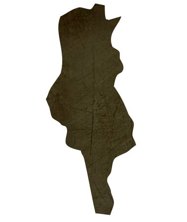Dark silhouetted and textured map of Tunisia isolated on white background. Stock Photo - 17079424