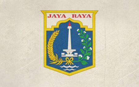 jakarta: Grunge illustration of Jakarta city flag, Indonesia.