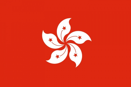 hong kong: Illustration of Hong Kong city flag, China.