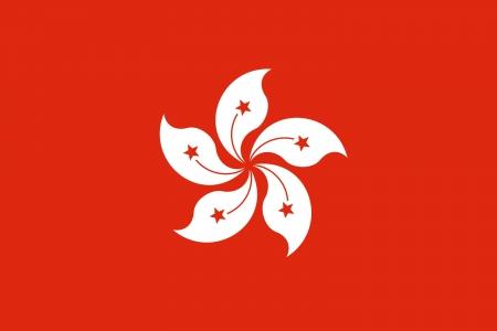 Illustration of Hong Kong city flag, China.
