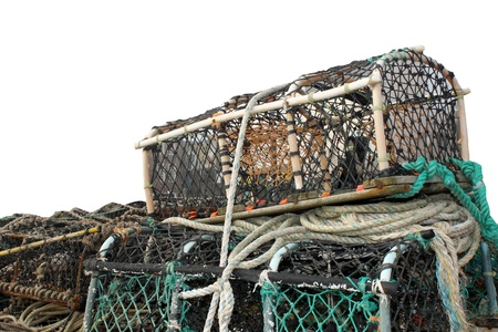 lobster pots: Lobster pots and creels isolated on white background with copy space.