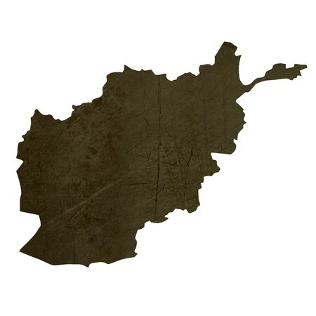 Dark silhouetted and textured map of Afghanistan isolated on white background. Stock Photo - 17845368