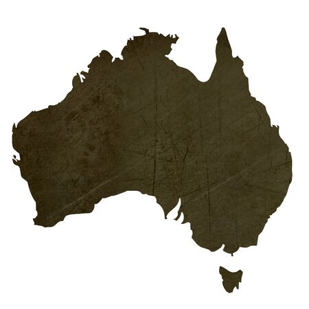 Dark silhouetted and textured map of Australia isolated on white background. Stock Photo - 17845433