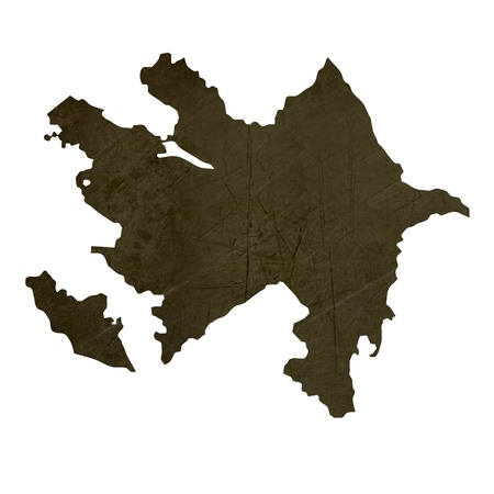 silhouetted: Dark silhouetted and textured map of Azerbaijan isolated on white background.