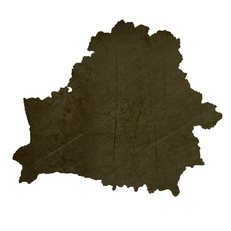 silhouetted: Dark silhouetted and textured map of Belarus isolated on white background.