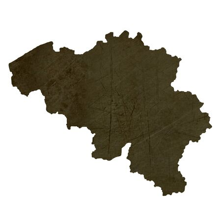 silhouetted: Dark silhouetted and textured map of Belgium isolated on white background.