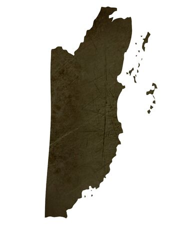 silhouetted: Dark silhouetted and textured map of Belize isolated on white background. Stock Photo