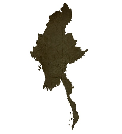 silhouetted: Dark silhouetted and textured map of Burma isolated on white background.