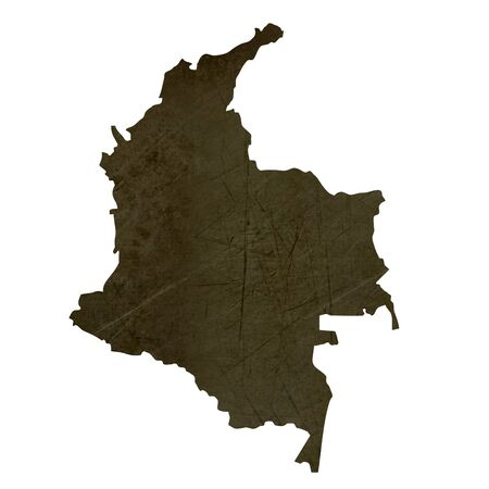 silhouetted: Dark silhouetted and textured map of Columbia isolated on white background.