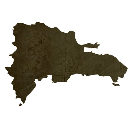 silhouetted: Dark silhouetted and textured map of Dominican Republic isolated on white background. Stock Photo