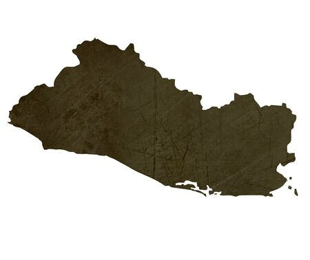 silhouetted: Dark silhouetted and textured map of El Salvador isolated on white background. Stock Photo