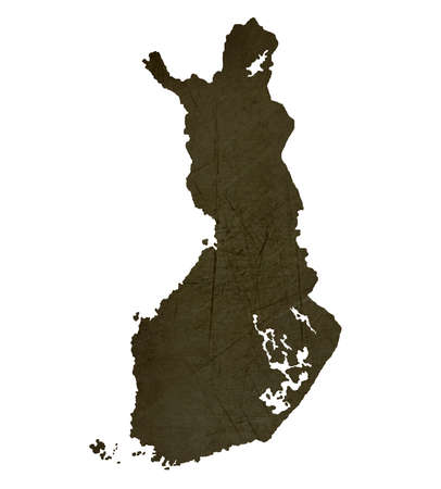 silhouetted: Dark silhouetted and textured map of Finland isolated on white background.