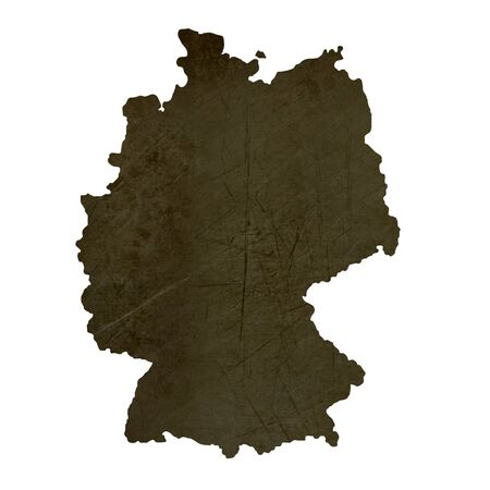 Dark silhouetted and textured map of Germany isolated on white background. photo