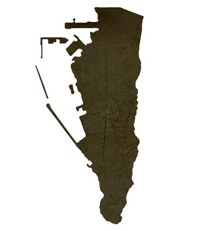 silhouetted: Dark silhouetted and textured map of Gibraltar isolated on white background.