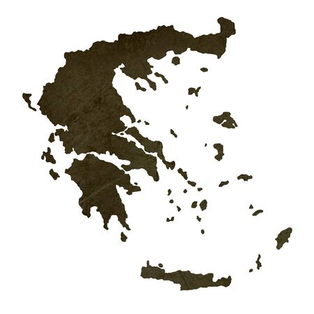 silhouetted: Dark silhouetted and textured map of Greece isolated on white background.