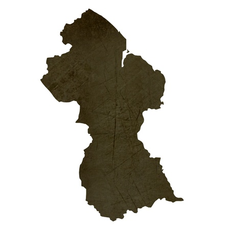 silhouetted: Dark silhouetted and textured map of Guyana isolated on white background. Stock Photo