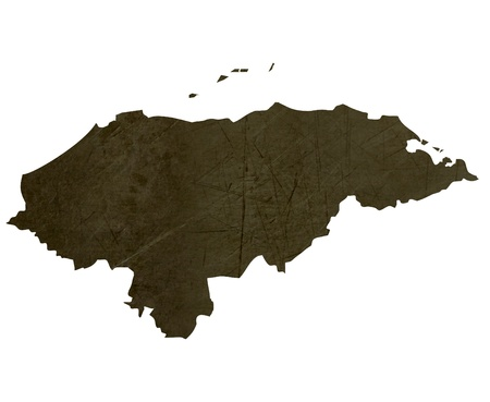 Dark silhouetted and textured map of Honduras isolated on white background. Stock Photo - 17845239
