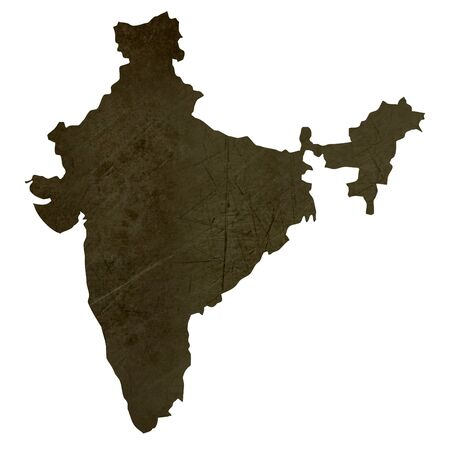 silhouetted: Dark silhouetted and textured map of India isolated on white background.