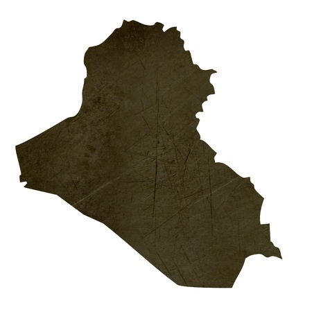 Dark silhouetted and textured map of Iraq isolated on white background. Stock Photo - 17845399