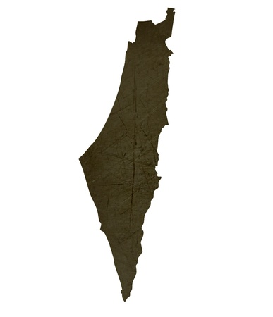 Dark silhouetted and textured map of Israel isolated on white background. Stock Photo - 17843492