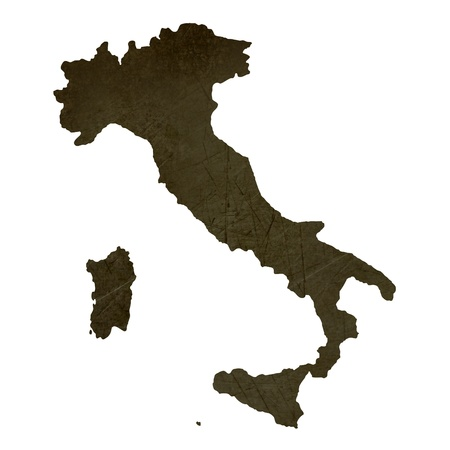 silhouetted: Dark silhouetted and textured map of Italy isolated on white background.