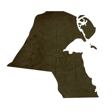 silhouetted: Dark silhouetted and textured map of Kuwait isolated on white background.