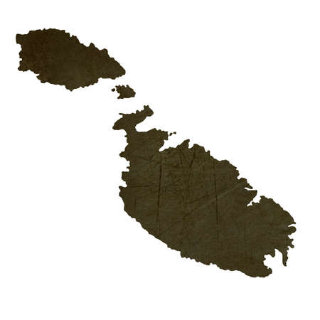 maltese map: Dark silhouetted and textured map of Malta isolated on white background.