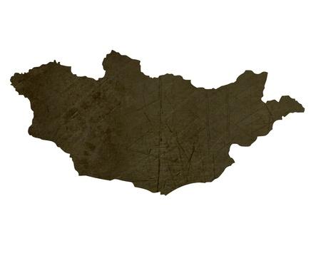 silhouetted: Dark silhouetted and textured map of Mongolia isolated on white background. Stock Photo