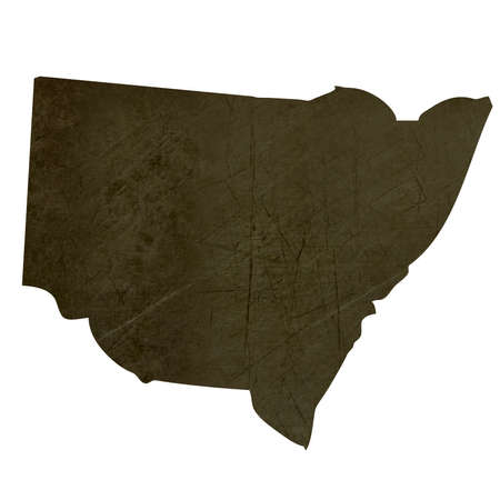 oceania: Dark silhouetted and textured map of New South Wales province of Australia  isolated on white background.