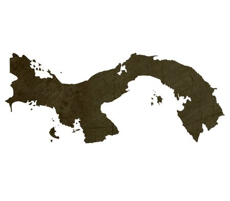 panama: Dark silhouetted and textured map of Panama isolated on white background. Stock Photo