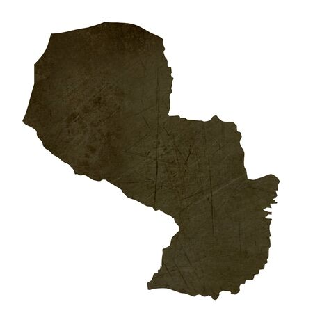 Dark silhouetted and textured map of Paraguay isolated on white background. Stock Photo - 17845384