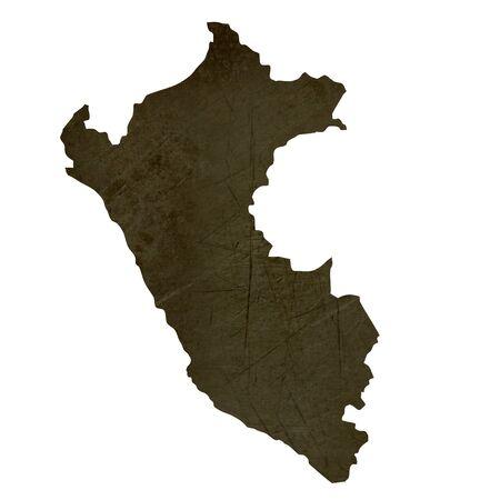 mapa del peru: Mapa oscura silueta y textura del Perú aislado en el fondo blanco.