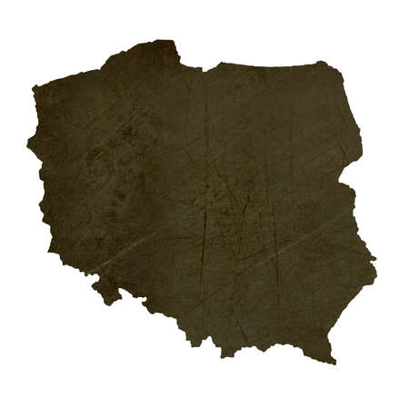 silhouetted: Dark silhouetted and textured map of Poland isolated on white background. Stock Photo