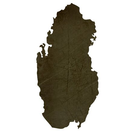 silhouetted: Dark silhouetted and textured map of Qatar isolated on white background. Stock Photo