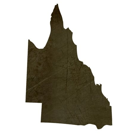 silhouetted: Dark silhouetted and textured map of Queensland province of Australia isolated on white background.