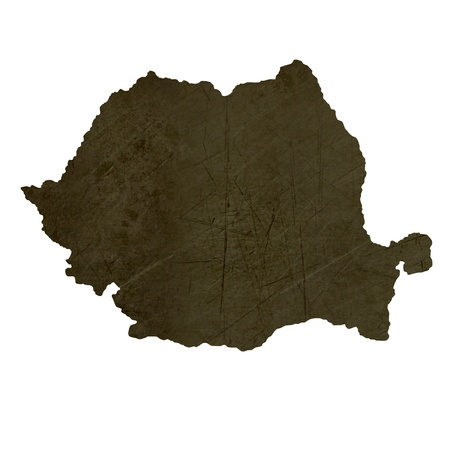 Dark silhouetted and textured map of Romania isolated on white background. photo